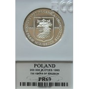 200 000 zł 1993 750 Rocznica Nadania Praw Miejskich Szczecinowi - grading PR69