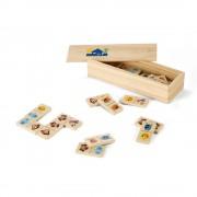 Joc Domino cu figuri de animale, 147x50x30 mm, Everestus, SGS05, lemn, natur, 2 bastonase gonflabile incluse