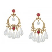 Kenneth Jay Lane Antique Gold Post Earrings with Ruby Stones and Pearl Drops Antique GoldRubyPearl