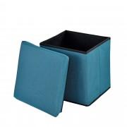 [en.casa]® Összehajtható szövet puff - ülőke / lábtartó tárolórekesszel (30x30cm) türkiz