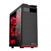 Кутия Delux DW701, ATX, M-ATX, 2x USB 2.0, 1x USB 3.0, прозорец, черна, без захранване