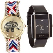 Neutron New Diwali Elephant Analogue Multi Color And Black Color Girls And Women Watch - G159-G12 (Combo Of 2 )