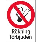 """Förbudsskylt """"Rökning förbjuden"""" A4"""