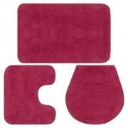 vidaXL Conjunto tapetes de casa de banho 3 pcs tecido fúcsia