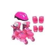 Patins Ajustáveis Com Kit De Segurança - 3 Rodas - Tamanho 29 A 32 - Barbie - Rosa - Fun