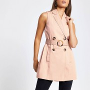 River Island Womens Pink belted sleeveless blazer (12)