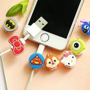 Xtore 2 pc Universal Creative cartoon/superhero shape Charger cable protector beads iPhone Any round cable