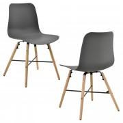 En.casa] Conjunto de 2 sillas de comedor - gris con estampado - silla de plástico de diseño retro