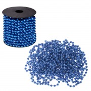 Sirag margele decorative de Craciun, pentru brad, 8mm x 10m, albastru