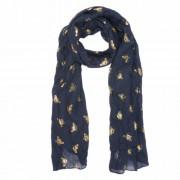 Textil sál 70x180cm, 100% viszkóz, kék arany méhecskés