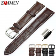 ZLIMSN watchbands genuine leather for Tissot Black Watchbands Metal Buckle Bracelets Belt for Tissot 8mm 20mm 22mm watch band