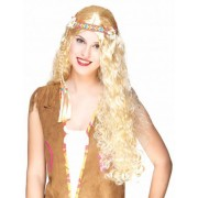 Vegaoo Lange Hippie-Perücke in Blond für Damen