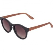 Ivy Vacker Multi-color Oval Wooden Sunglass for Men