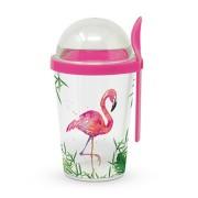 PPD.Q603705 Műanyag joghurtos pohár kanállal, gabona és gyümölcs tárolóval 300+100ml, Tropical Flamingo