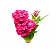 Trandafir artificial 31 cm suport ceramic roz Bonus Lanterna LED tip breloc