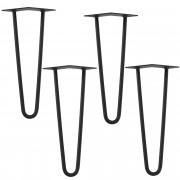[en.casa]® Hairpin leg hajtűláb 45 cm stílusos asztalláb 4 darabos szett fekete kétágú