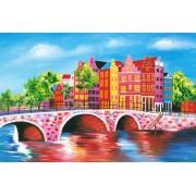 Werk aan de Muur Schilderij Schilderij Amsterdam 2 - Aluminium Dibond - 60x40