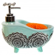 Dispenser sapun lichid sub forma de cada turcoaz