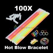 AST Works 100X Neon Light up Glow Sticks Bright Glo Lite Stix 8'' Bracelet Necklace Favors
