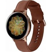 """Smartwatch Samsung Galaxy Watch Active 2 SM-R820, Procesor Dual-Core 1.15GHz, Super AMOLED 1.4"""", 768MB RAM, 4GB Flash, Bluetooth, Wi-Fi, Carcasa Otel, Bratara Piele 44mm, Rezistent la apa si praf, Tizen (Auriu/Maro)"""