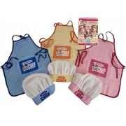 Qi *New* Kids Childrens Junior Chef Kit Set Cooking Apron Chefs Hat Pink