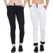 Cliths Women's Cotton lower for women| Slim Fit Dark Pack Of 2 Solid Track Pants for Women/Girls (Black Grey White Black)