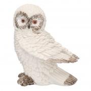 Merkloos Wit sneeuwuil vogel decoratie beeldje 13 cm