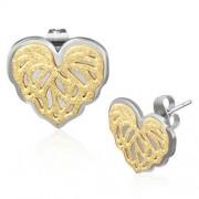 Arany és ezüst színű, szív alakúnemesacél fülbevaló ékszer, homokfúvott mintával