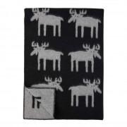 Klippan Yllefabrik älgar moose ullfilt black, klippan yllefabrik
