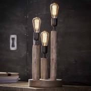 Design Tischlampe aus Eukalyptusholz 3 flammig