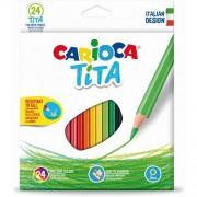 Creioane colorate, hexagonale, 24 culori/cutie, CARIOCA Tita