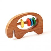 Shumee Wooden Eco Friendly Elephant Rattle Toy (0+ Years) - Discover Sounds