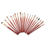 20Pcs Wooden Brown Cosmetic Brush Set Eye Shadow Foundation Kabuki Brushes Tools