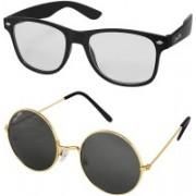 Silver Kartz Wayfarer Sunglasses(Clear, Black)
