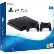 Конзола PlayStation 4 Slim, 500GB, Два геймпада, Черна