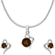 Mahi with Crystal Elements Brown Victorian Heart Rhodium Plated Pendant Set for Women NL1104141RBro