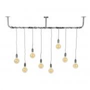 Miliboo Suspension industrielle argent vieilli 8 lampes LIDO
