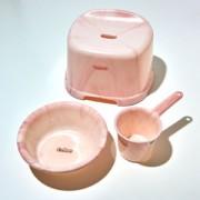 ◎≪バスカ≫腰かけ・湯おけ・手おけ 3点セット ピンク
