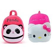 Blue Tree School Hello Kitty Plush Soft Bag for Kids/Girls/Boys (Pink, 3 to 5 Year)