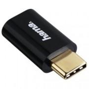 Преходник Hama, от micro USB B(ж) към USB C(м), позлатени конектори, черен