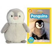 Easter Basket Stuffers Pom Penguin Plush by Aurora with National Geographic Penguins Book Reader 2 Book Bundle for Kids