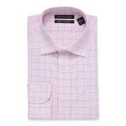 【86%OFF】SLIM FIT ギンガム ウィンドーペン スプレッドカラー 長袖シャツ ピンク 16/34 ファッション > メンズウエア~~その他トップス