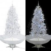 vidaXL Коледна елха с валящ сняг и основа от чадър, бяла, 190 см