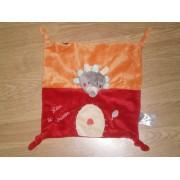 Doudou Peluche Léon Plat Leon Le Hérisson Hérison Hedgehor Igel Logystar Jogystar Kiabi Kitchoun Brodé Champignon Rouge Orange Gris Feuille