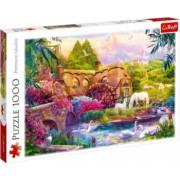 Puzzle peisaj casuta cai albi lebede pe lac si flori multicolore 1000 piese