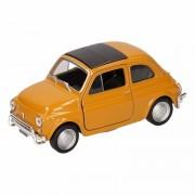 Merkloos Speelgoed gele Fiat 500 classic auto 10,5 cm