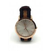 Spy Henry Lau Leather & Cotton Strap Classic Wrist Watch Brown SP788AC67RCEHK