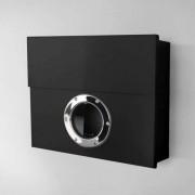 Radius Design Letterman XXL Briefkasten schwarz (RAL 9005) ohne Klingel mit Pfosten in Briefkastenfarbe