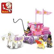 Sluban Pink series Girls Dream the Royal Carriage Building Block Set -137 Piece Childrens educationa