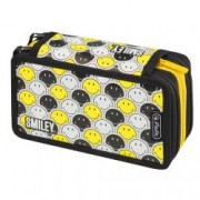 Penar Herlitz cu 3 compartimente Smiley World Black and Yellow Faces